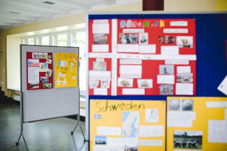Rosendahler Schüler*innen haben zur Wahl Poster für jedes EU-Land gebastelt.
