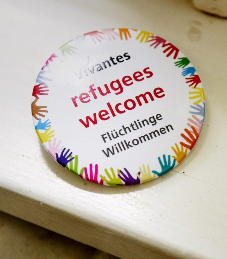 "Button ""refugees welcome"""