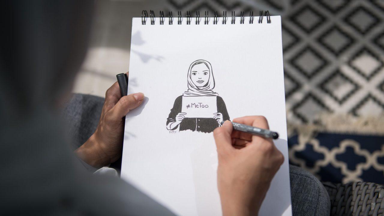 Illustration einer Muslima, die ein Schild, auf dem #metoo steht, in der Hand hält