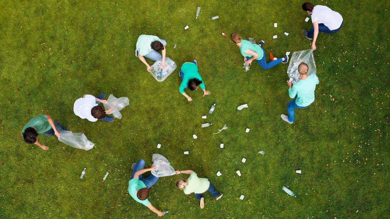 Menschen sammeln Müll auf einer grünen Wiese.