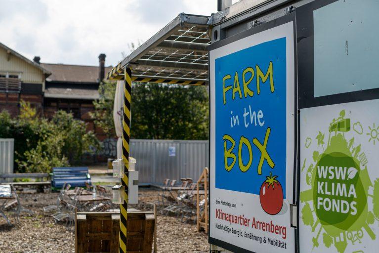 Farm in the Box: Werbung für das Klimaquartier Arrenberg.