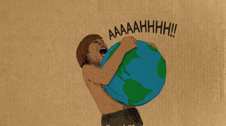 Ein Junge hält den Planeten Erde im Arm und schreit.