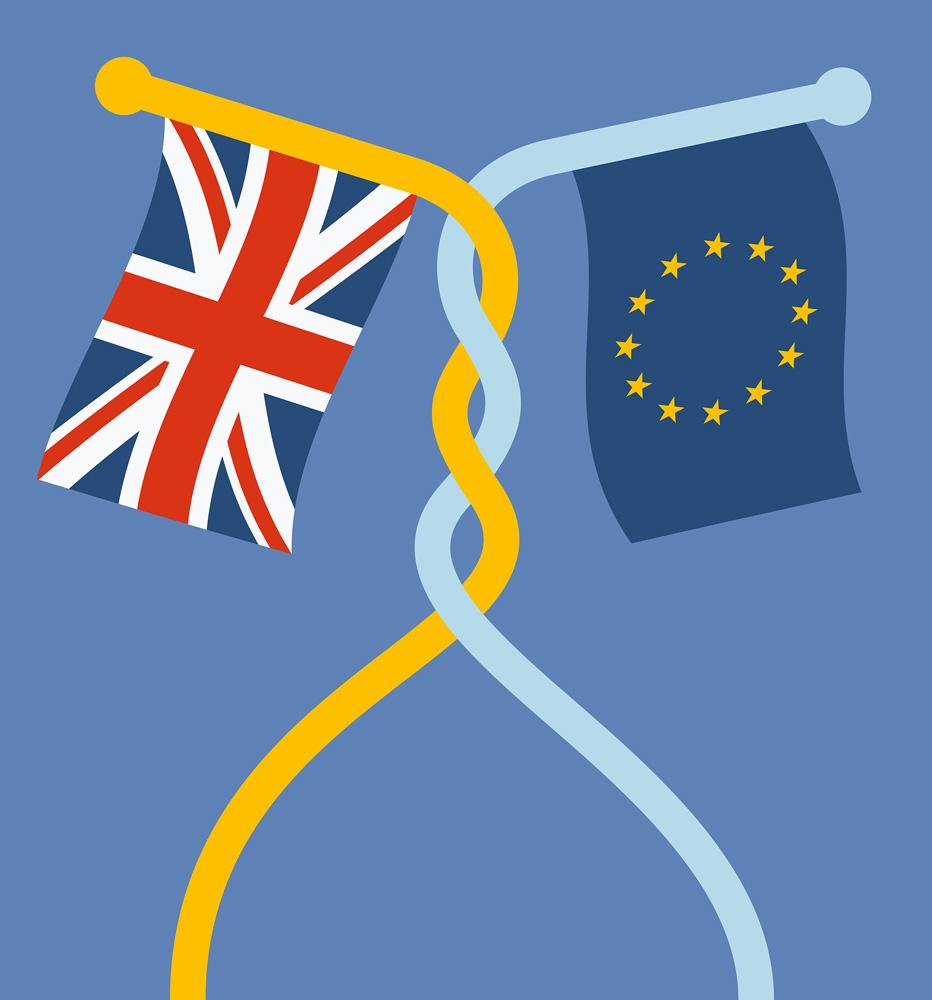 Union Jack und die Flagge Europas miteinander verschlungen.