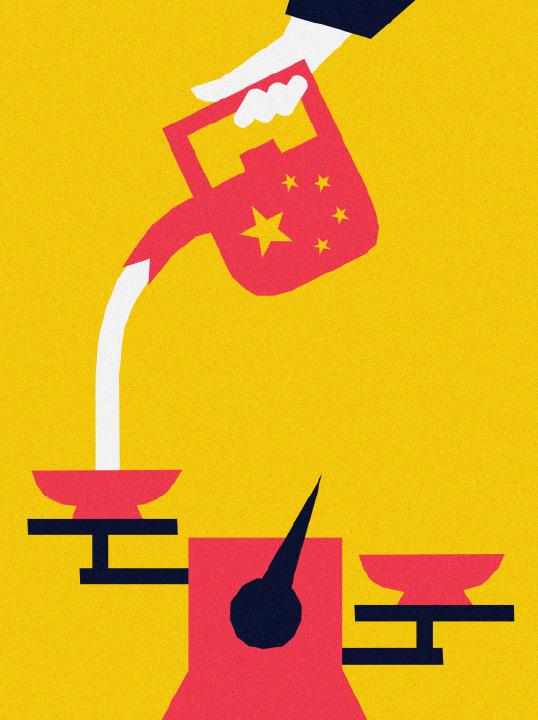 Zeichnung einer Waage, auf dessen eine Seite Wasser aus einer Gießkanne mit chinesischer Flagge in die Waagschale gegossen wird.