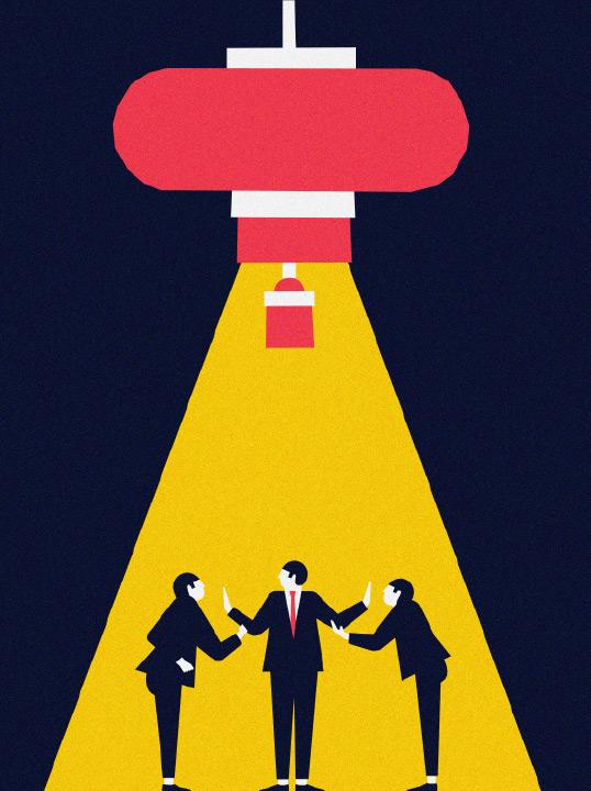 Zeichnung von drei Personen in Anzügen, die unter einem großen chinesischen Lampion diskutieren.
