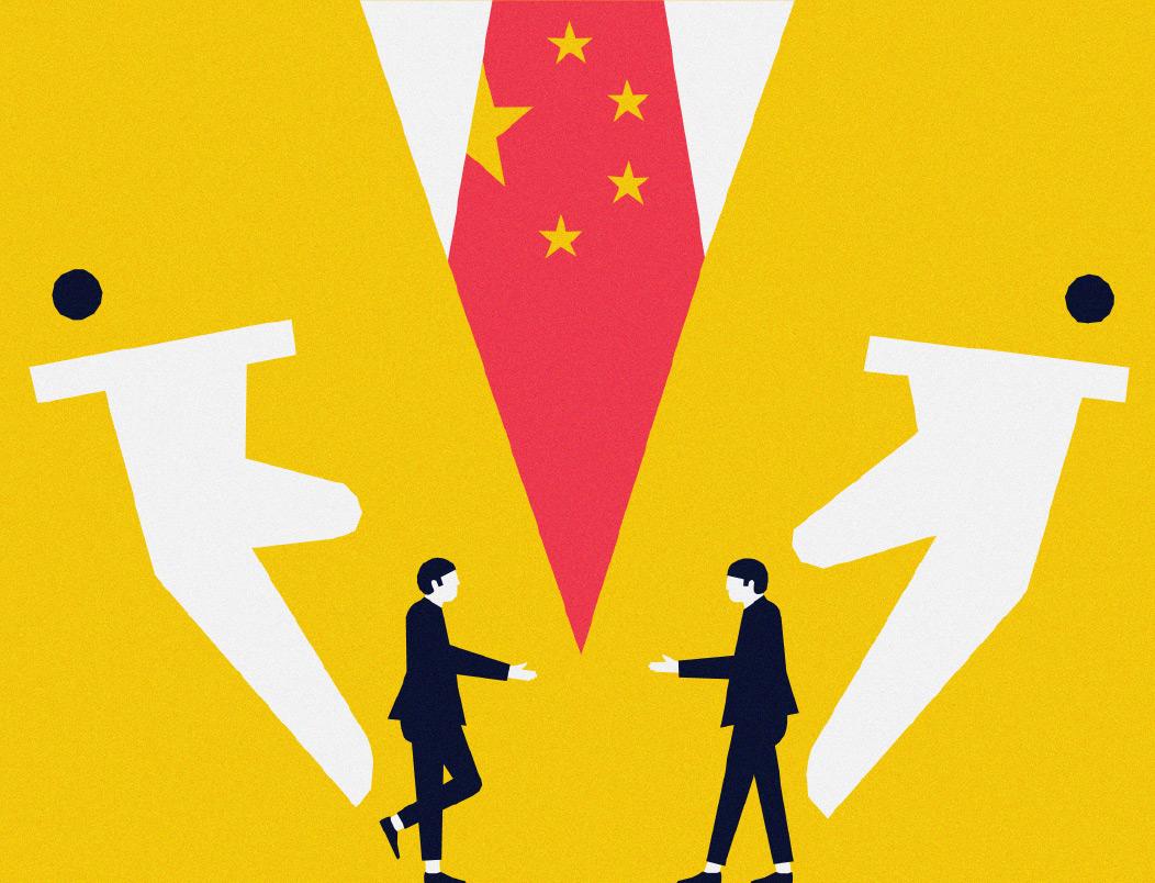 Zeichnung eines übergroßen Menschen in einem gelben Anzug mit einer Krawatte in Chinesischer Flagge. Die Hände aus dem Anzug treiben zwei kleine Menschen zusammen, die sich die Hand geben wollen.