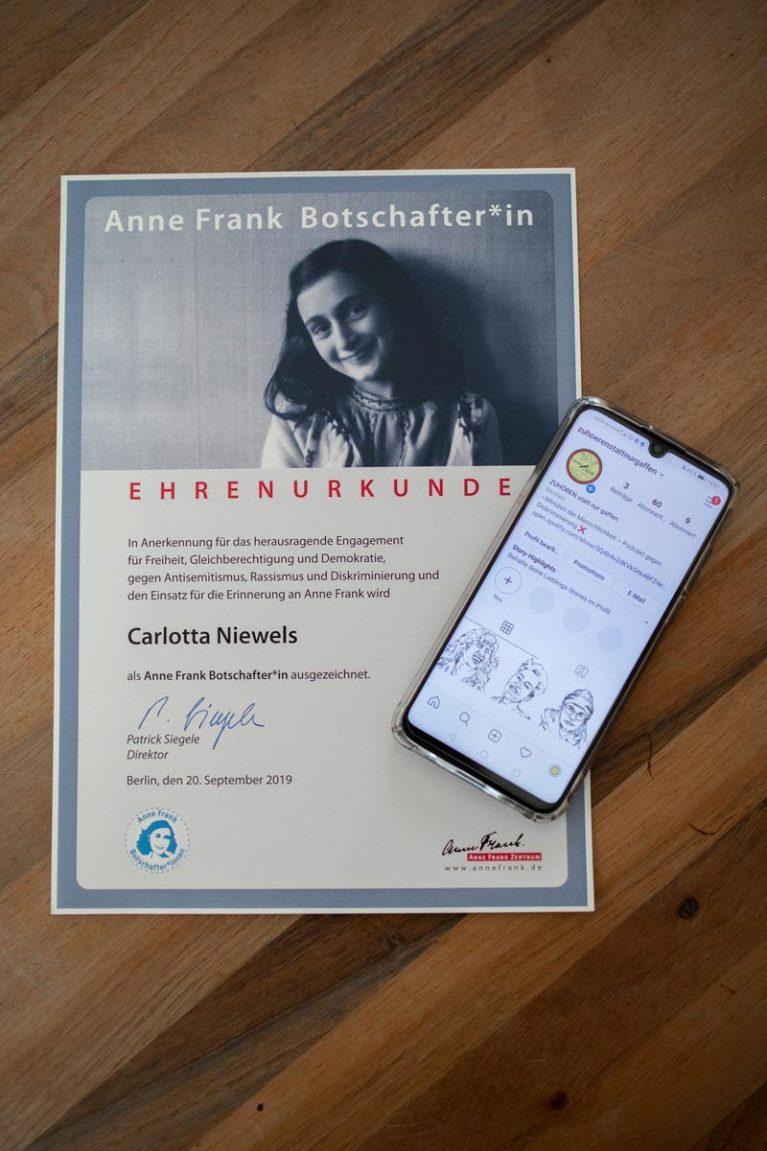 Carlotta Niewels Ehrenurkunde