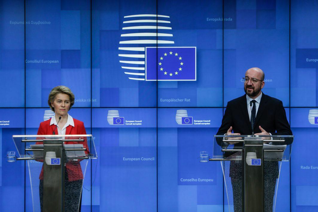 Pressekonferent mit von der Leyen und EU-Ratspräsident Michel