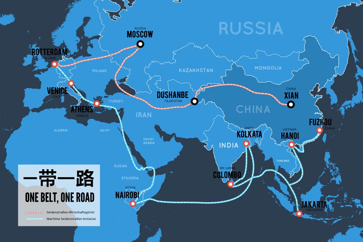 Karte Chinas Neue Seidenstraße