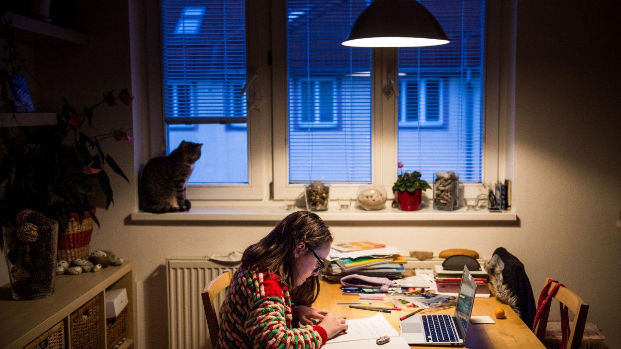 Kind sitzt Zuhause mit Lernmaterialien und Laptop am Tisch
