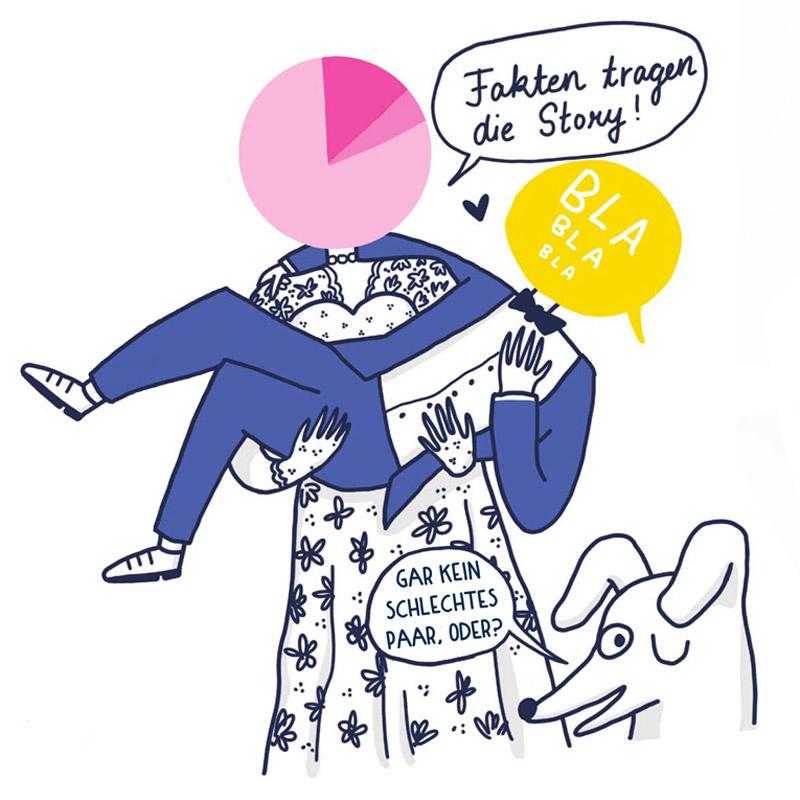 Zeichnung einer Braut, die die Fakten darstellt, die ihren Mann trägt, der die Story darstellt.
