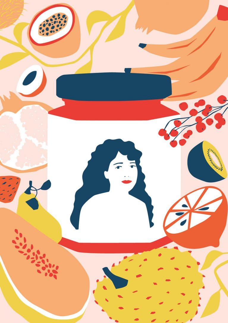 Zeichnung eines Einmachglases mit einer Frau auf dem Etikett. Drum herum sind verschiedene Obstsorten abgebildet.