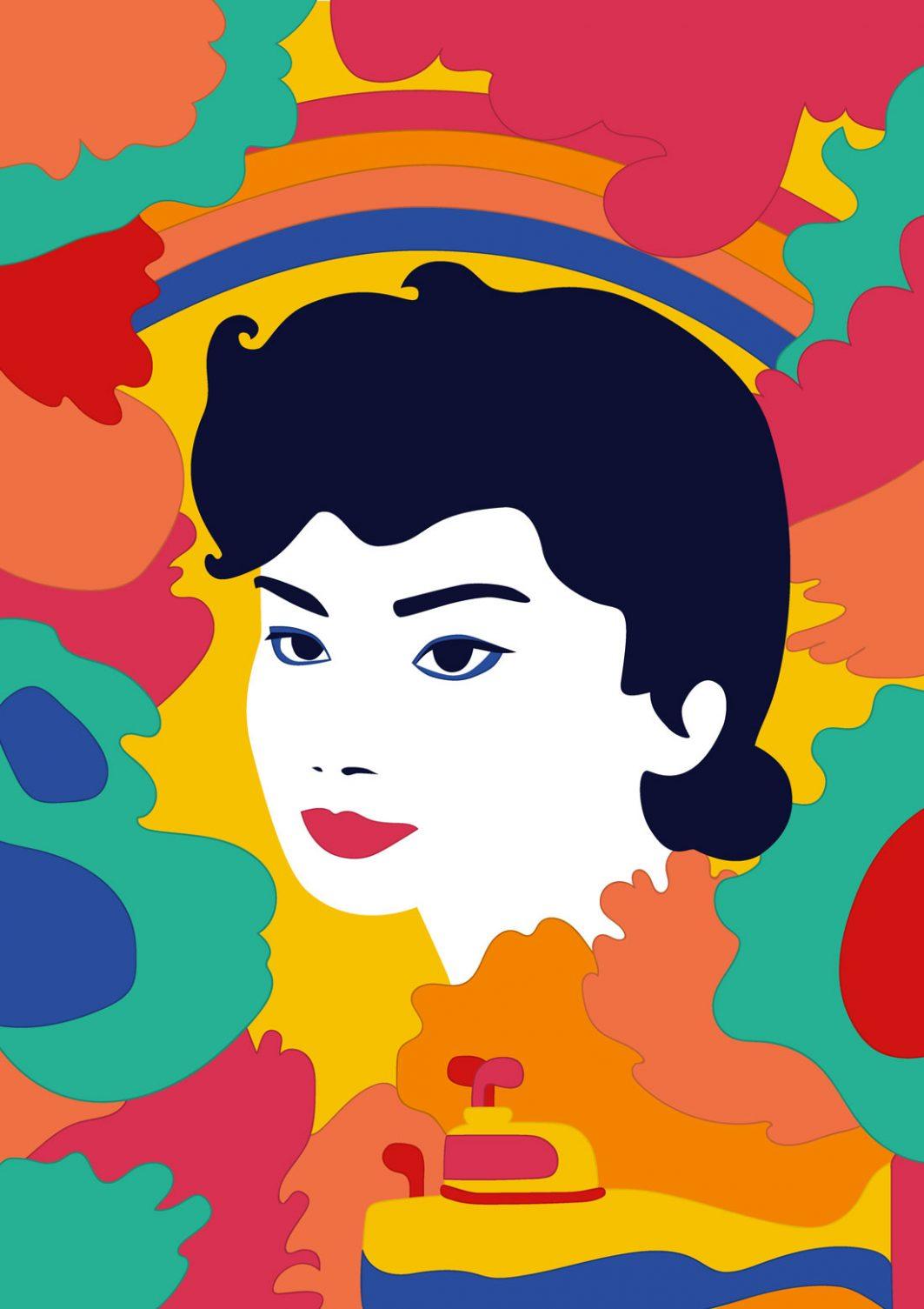Zeichnung eines Frauenkopfes mit schwarzen, kurzen Haaren, einem Regenbogen im Hintergrund und bunten Farbflecken.