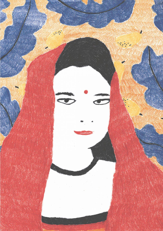 Eine Zeichnung einer Indischen Frau in einem roten Kleid.