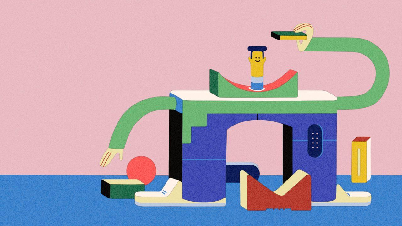 Bunte Zeichnung mit einem Menschen, dessen Beine aussehen wie ein Torbogen. Die Pfeilstützer sind die Schuhe. In der linken Hand hält er ein Buch und mit der rechten Hand versucht er ein Buch vom Boden aufzuheben.