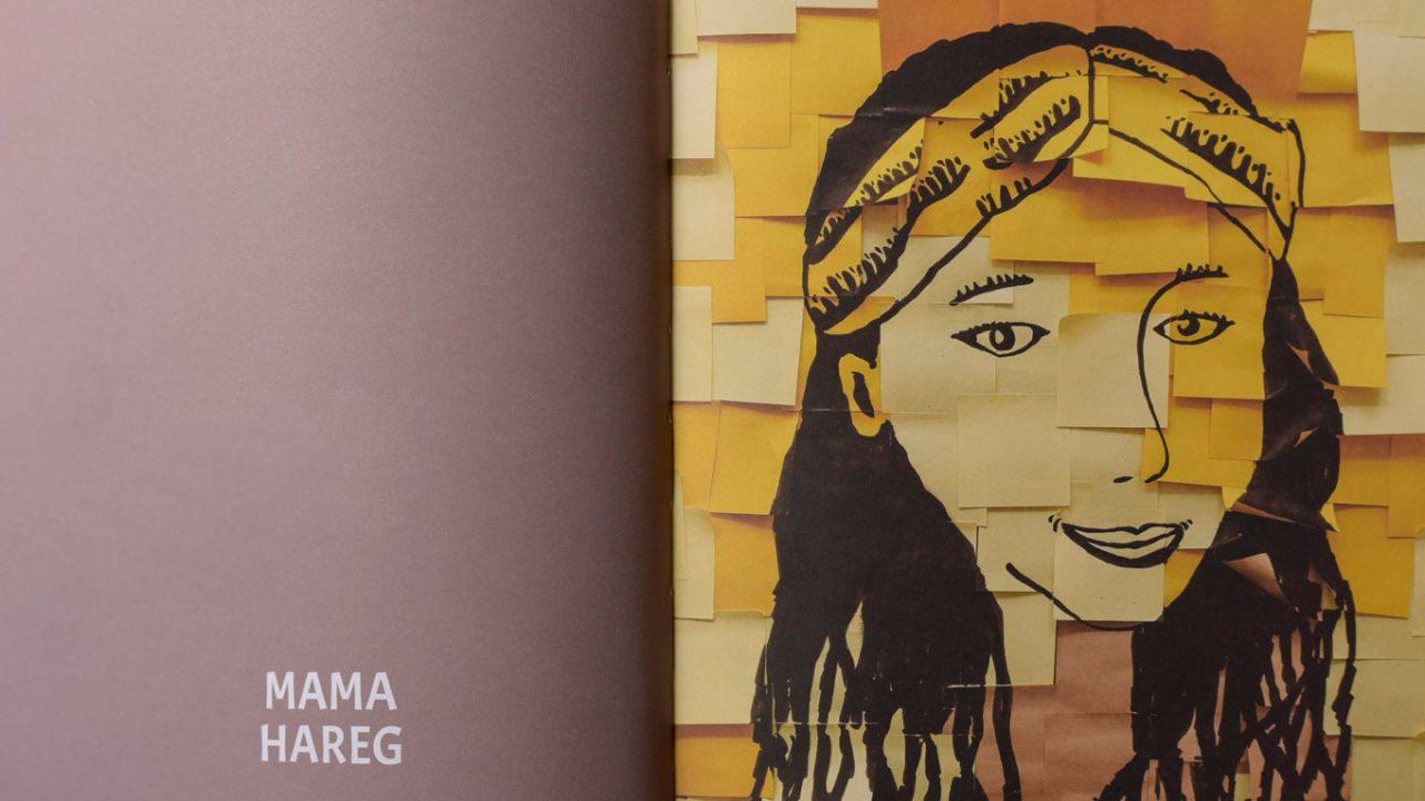 Illustration einer Frau, die aus vielen Post-Ist zusammengesetzt ist.