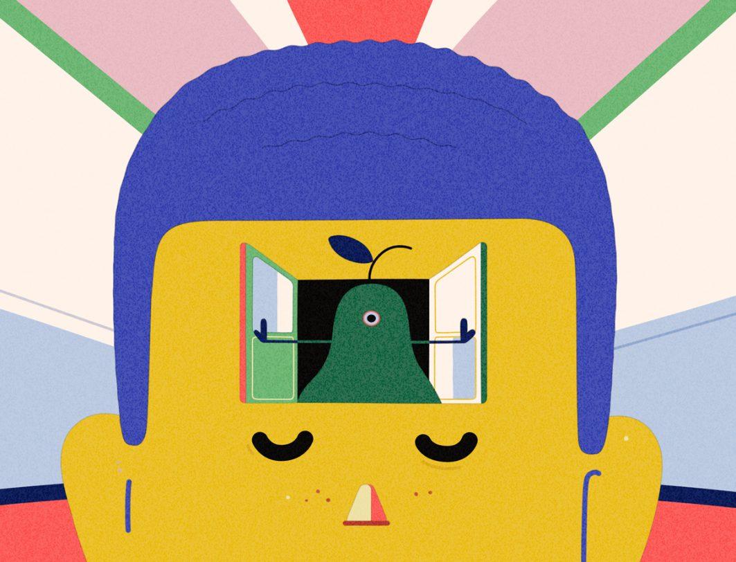 Zeichnung mit einer Birne, die aus einem Fenster guckt, das in der Stirn eines Menschen ist.