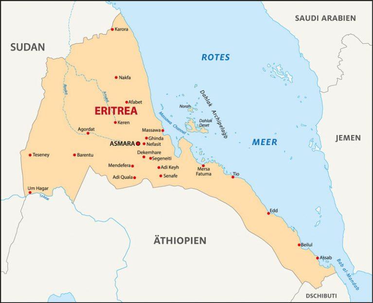 Eritrea liegt am Horn von Afrika.