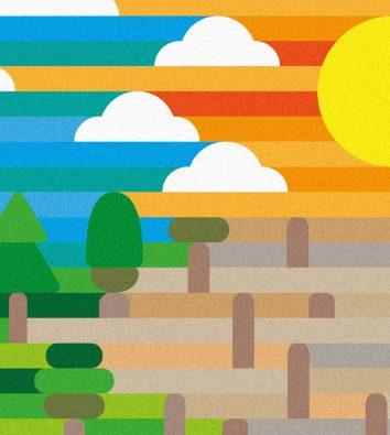 Eine Zeichnung mit einem zur Hälfte blauen Himmel mit Wolken und Regen und zur anderen Hälfte mit Sonne. Im unteren Teil mit einem grünen Wald unter den Regenwolken und einer ausgetrockneten Landschaft unter der Sonne.