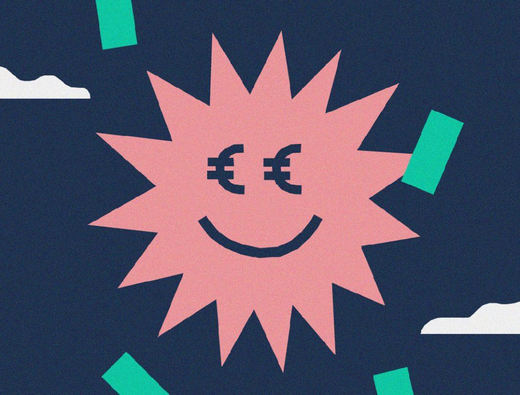 Eine Zeichnung von einer roten Sonne mit Euro-Zeichen als Augen. Um sie herum fliegen grüne Geldscheine.