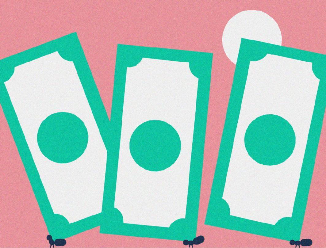 Eine Zeichnung von drei weiß-grünen Geldscheinen, die von drei Ameisen getragen werden.