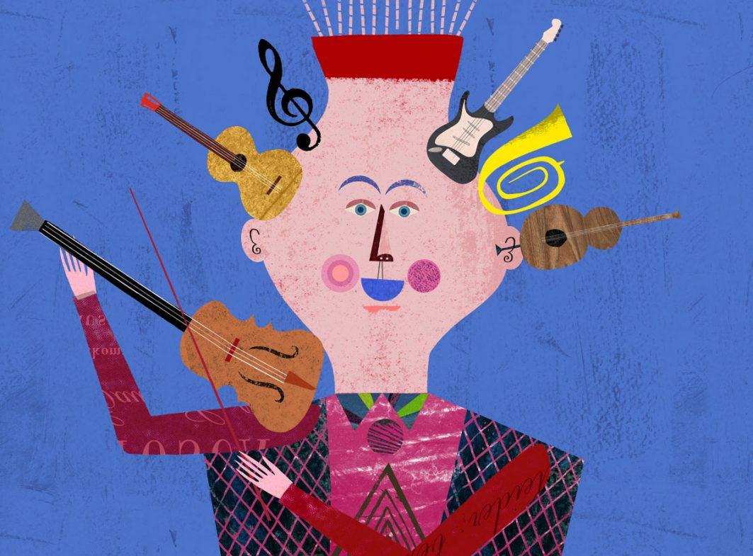 Ein gezeichneter Mensch mit einer Geige auf der Schulter und mit Gitarre, Cello, E-Gitarre, Notenschlüssel und Tuba als Haare auf dem Kopf.