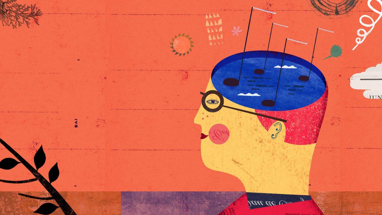 Zeichnung mit einem Mensch mit einer Brille im Profil. Sein Kopf wurde zur Hälfte horizontal aufgeschnitten und in dem mit Wasser aufgefüllten Kopf schwimmen vier Musiknoten auf der Oberfläche.