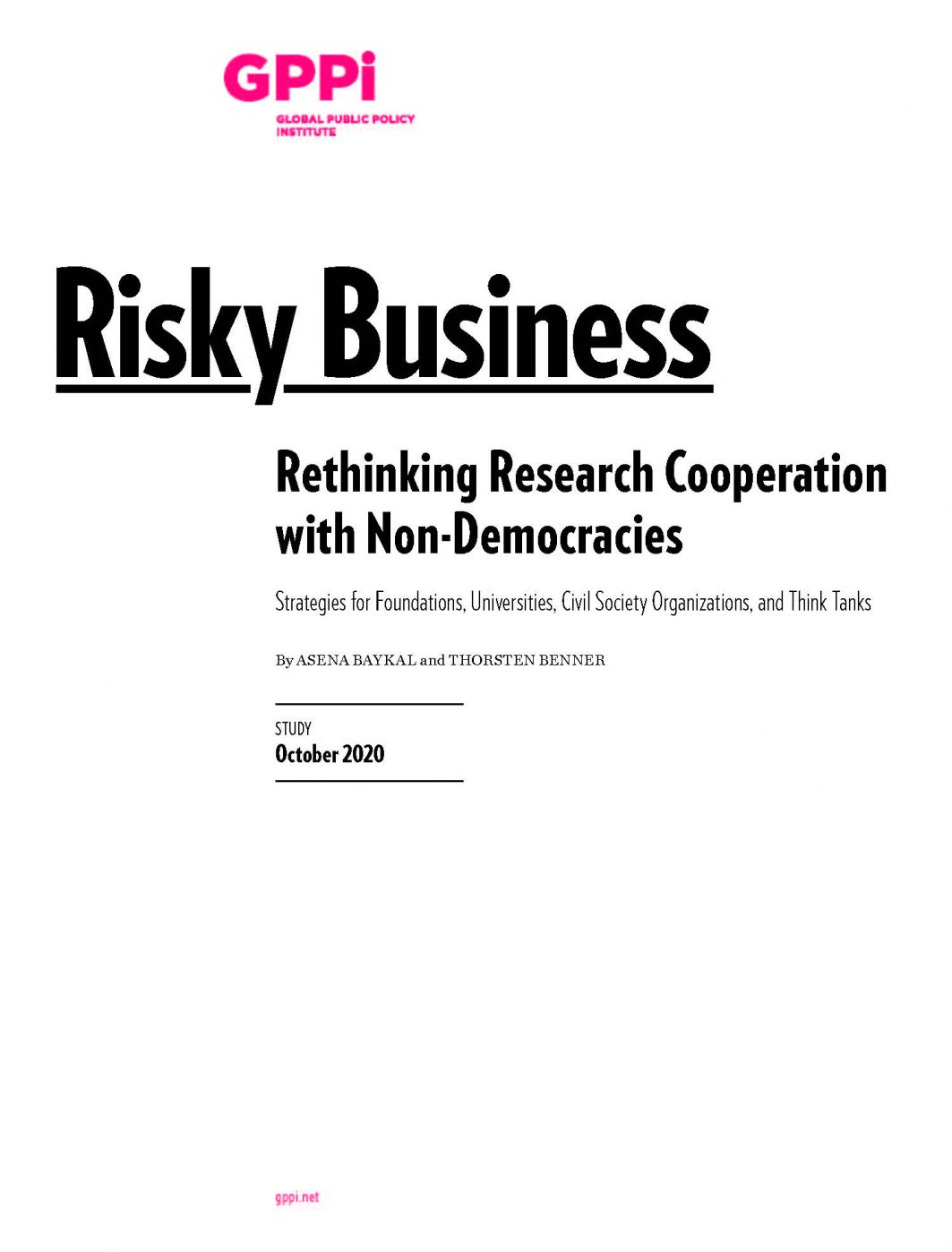 Risky Business Rethinking Research Cooperation with Non-Democracies