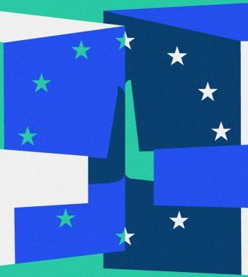 In grün, verschiedenen Blautönen und weißer Farbe werden in der Mitte des Bildes zwei Handflächen zusammengedrückt. Um sie herum ist ein Kreis aus Sternen.