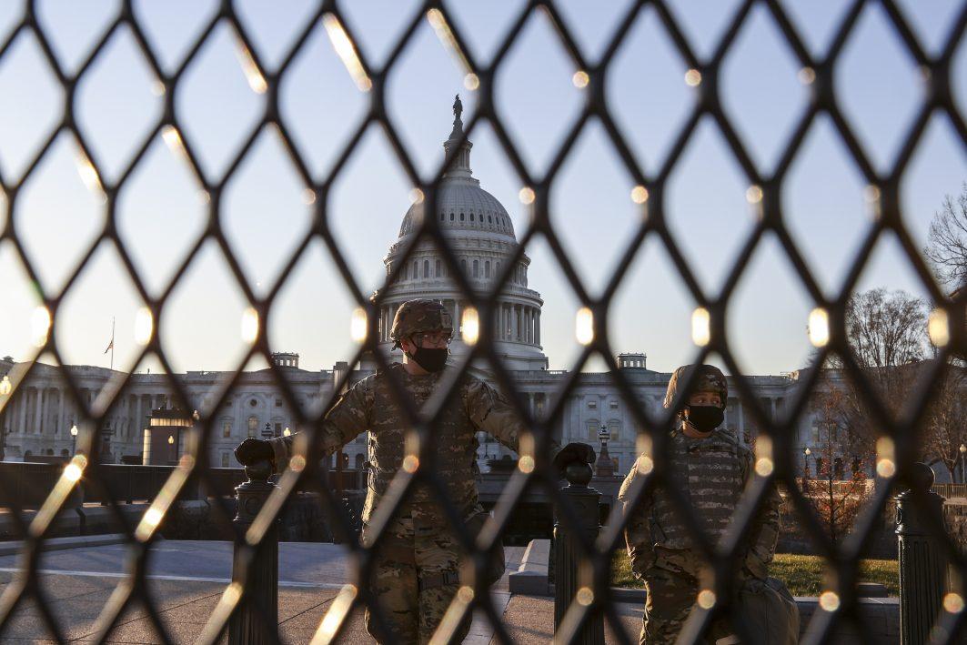 Washington Vorbereitung Inauguration Joe Biden nach Sturm auf das US-Kapitol hinter Gittern Angriff in den USA Trump