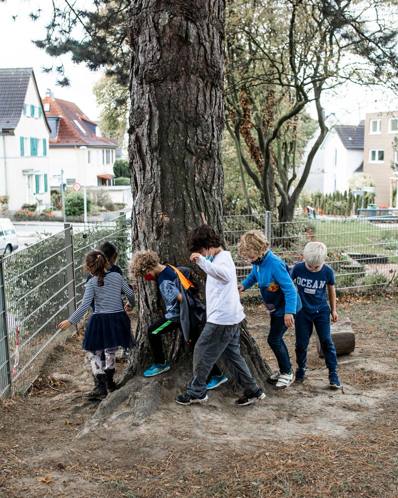Schüler*innen spielen um einen Baum